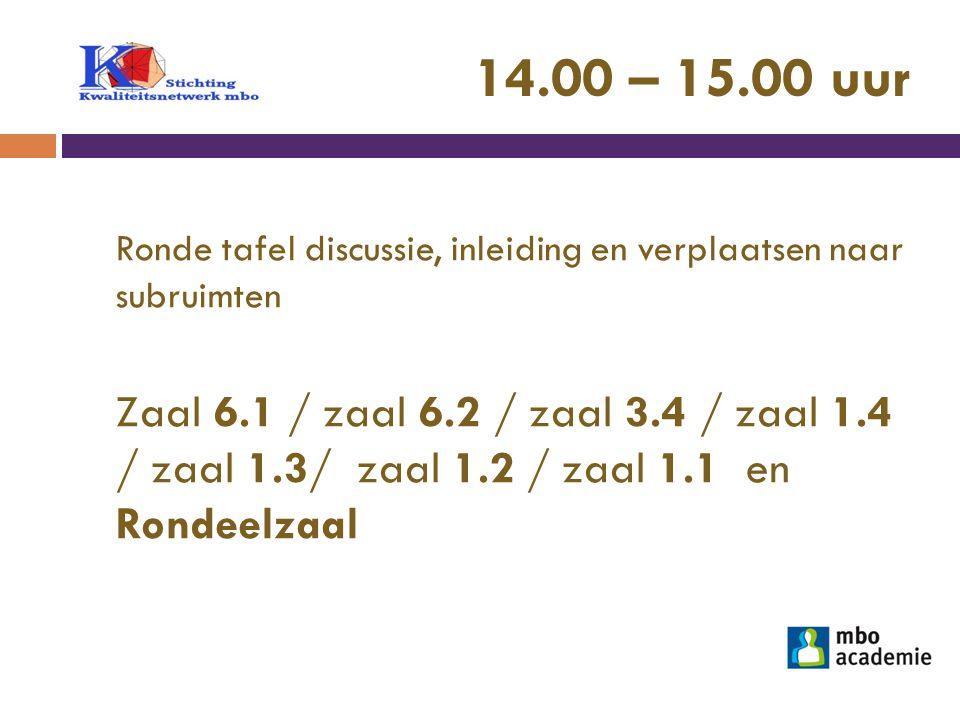 14.00 – 15.00 uur Ronde tafel discussie, inleiding en verplaatsen naar subruimten.