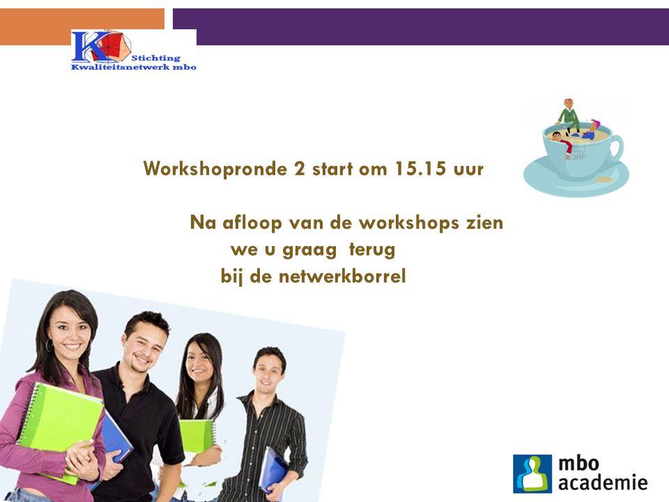 Workshopronde 2 start om 15.15 uur