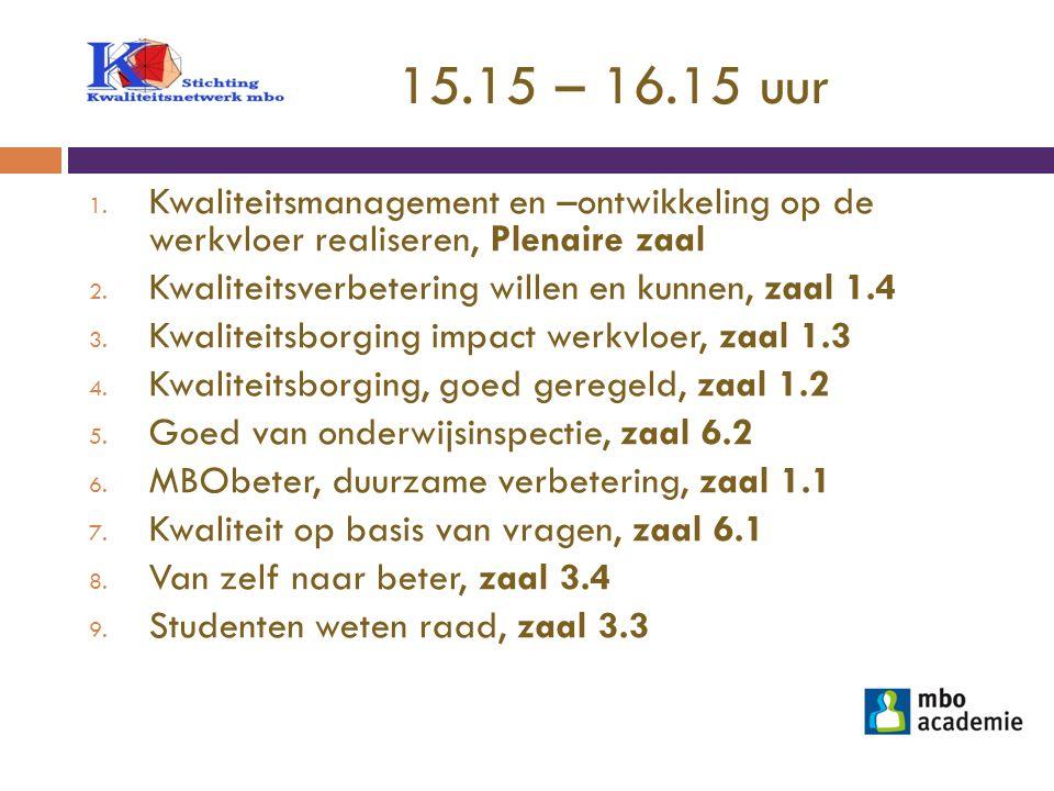 15.15 – 16.15 uur Kwaliteitsmanagement en –ontwikkeling op de werkvloer realiseren, Plenaire zaal.