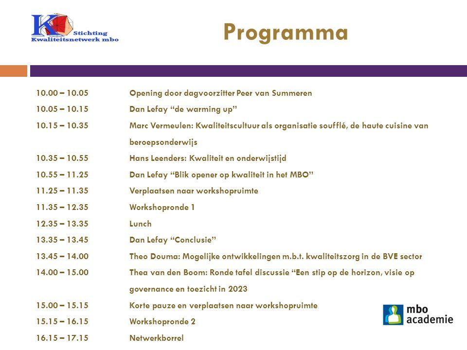 Programma 10.00 – 10.05 Opening door dagvoorzitter Peer van Summeren