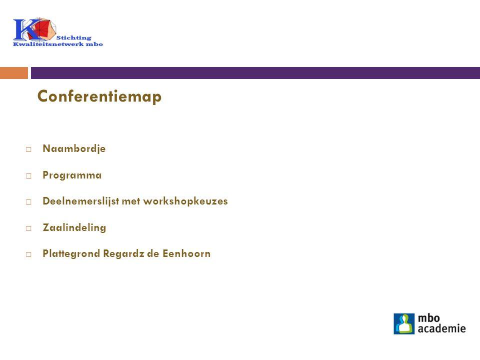 Conferentiemap Naambordje Programma Deelnemerslijst met workshopkeuzes