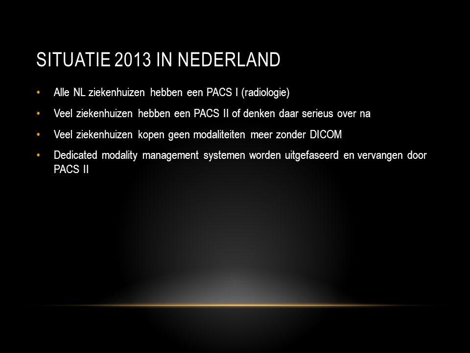 Situatie 2013 in nederland Alle NL ziekenhuizen hebben een PACS I (radiologie) Veel ziekenhuizen hebben een PACS II of denken daar serieus over na.