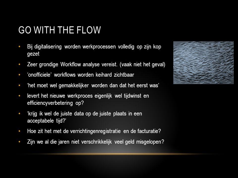 Go with the flow Bij digitalisering worden werkprocessen volledig op zijn kop gezet. Zeer grondige Workflow analyse vereist. (vaak niet het geval)