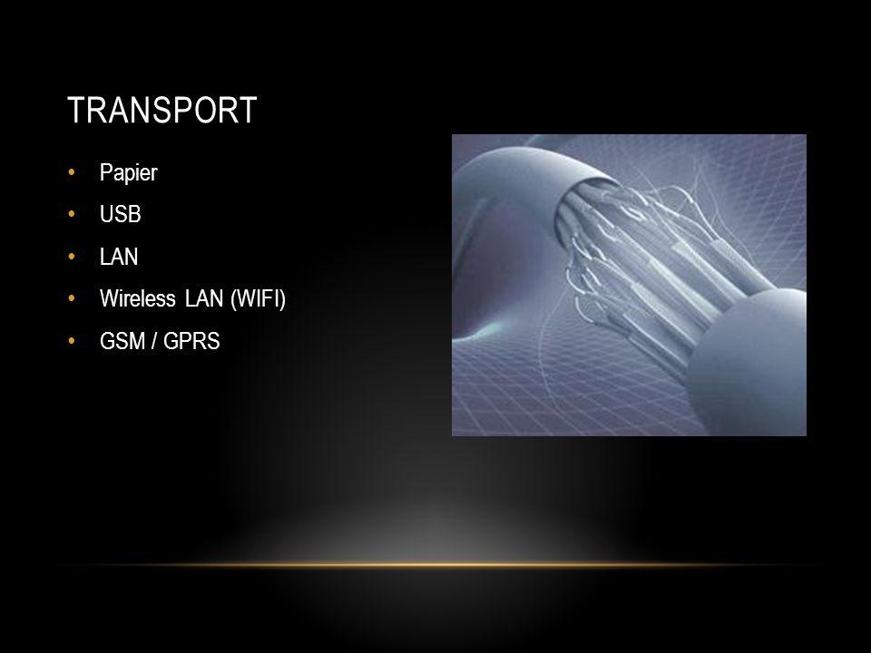 Transport Papier USB LAN Wireless LAN (WIFI) GSM / GPRS
