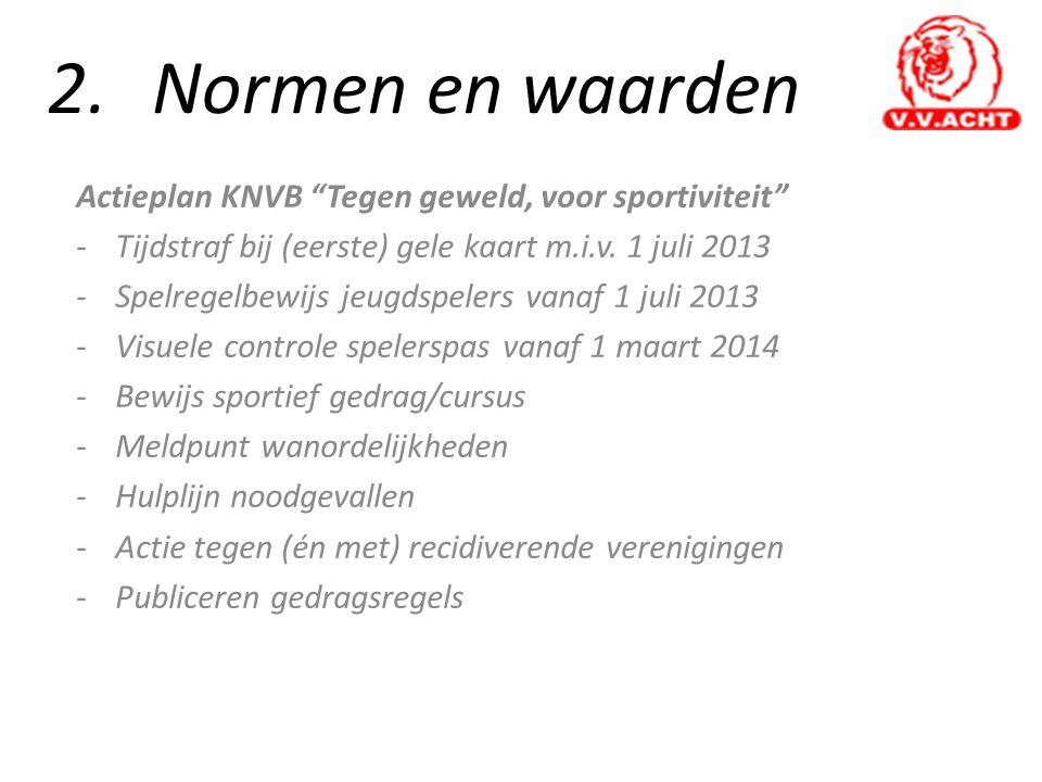 2. Normen en waarden Actieplan KNVB Tegen geweld, voor sportiviteit
