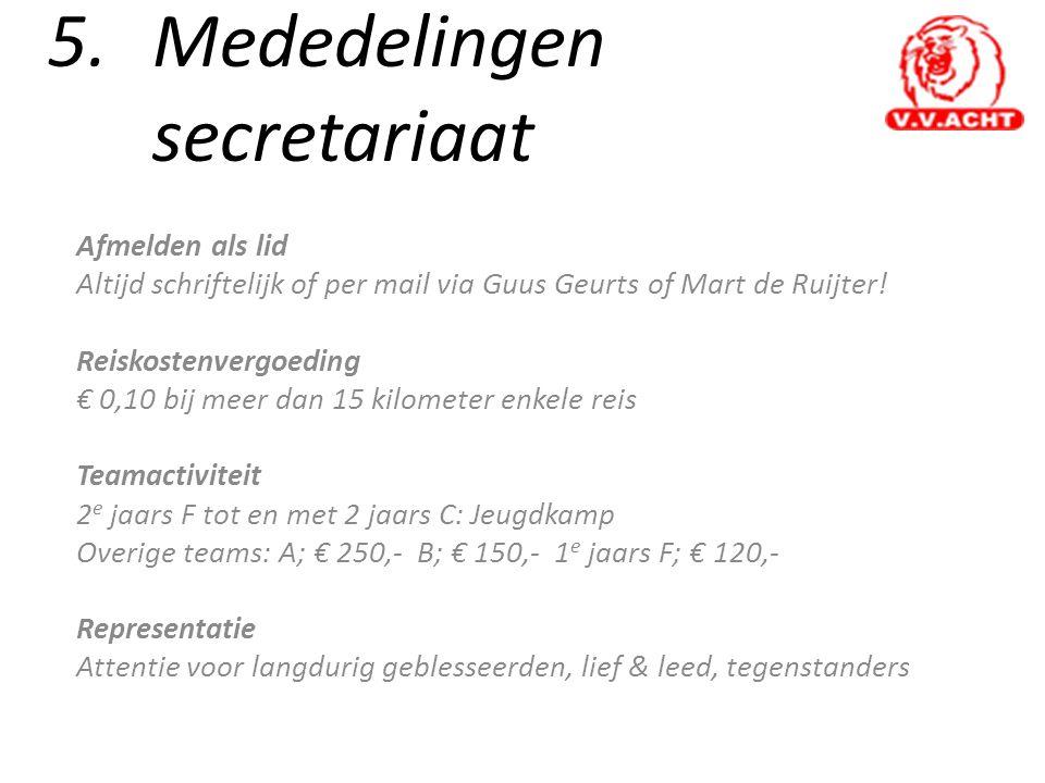 5. Mededelingen secretariaat