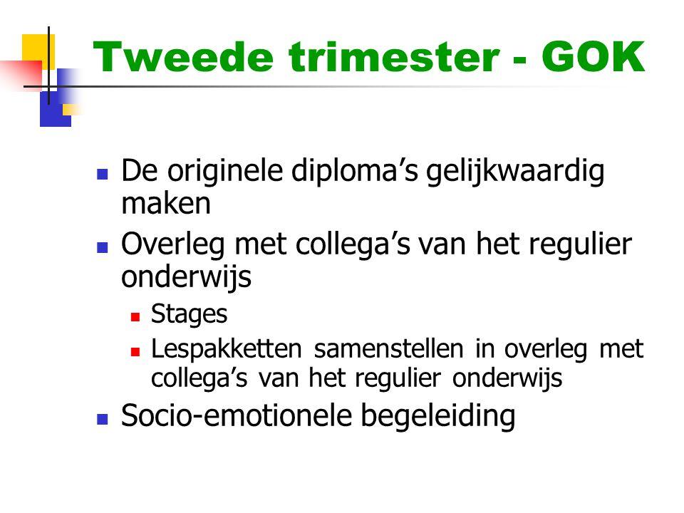 Tweede trimester - GOK De originele diploma's gelijkwaardig maken