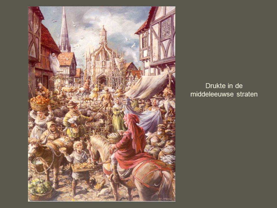 Drukte in de middeleeuwse straten