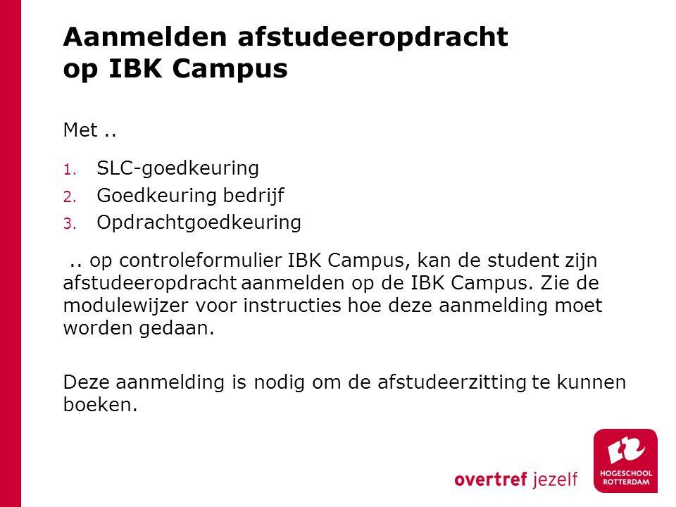 Aanmelden afstudeeropdracht op IBK Campus
