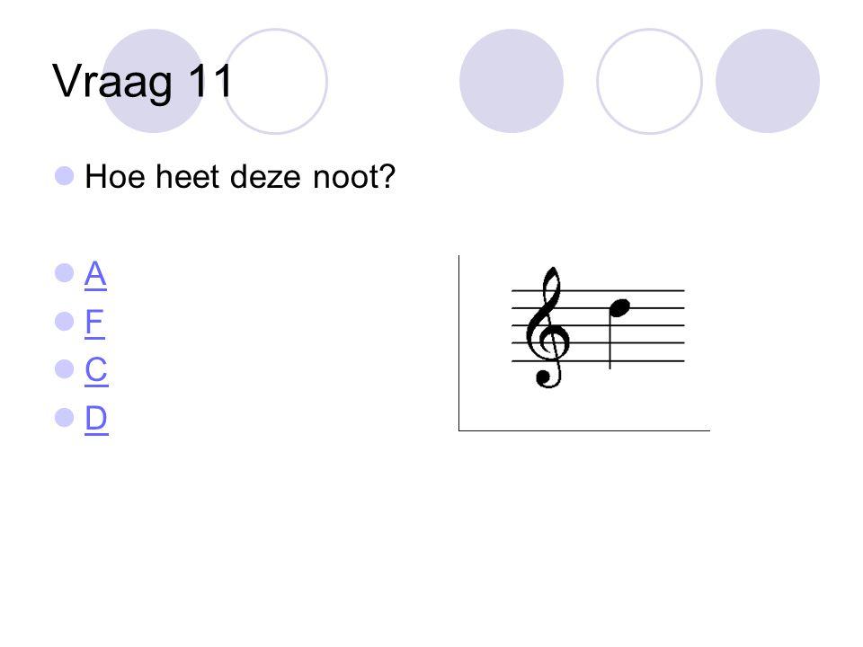 Vraag 11 Hoe heet deze noot A F C D