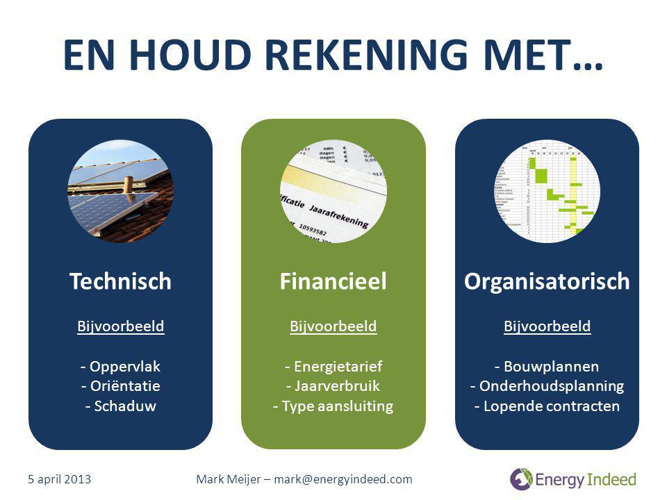 EN HOUD REKENING MET… Technisch Financieel Organisatorisch