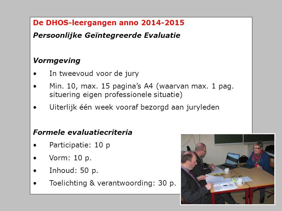 De DHOS-leergangen anno 2014-2015