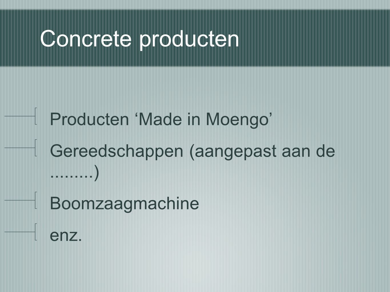 Concrete producten Producten 'Made in Moengo'