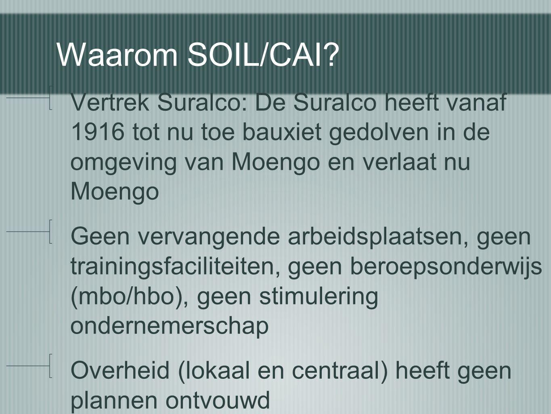 Waarom SOIL/CAI Vertrek Suralco: De Suralco heeft vanaf 1916 tot nu toe bauxiet gedolven in de omgeving van Moengo en verlaat nu Moengo.