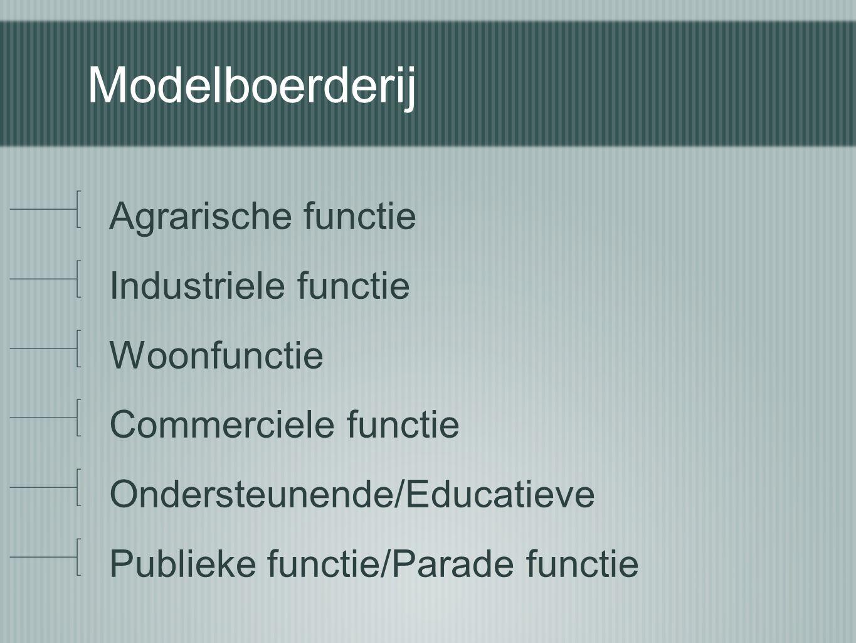 Modelboerderij Agrarische functie Industriele functie Woonfunctie