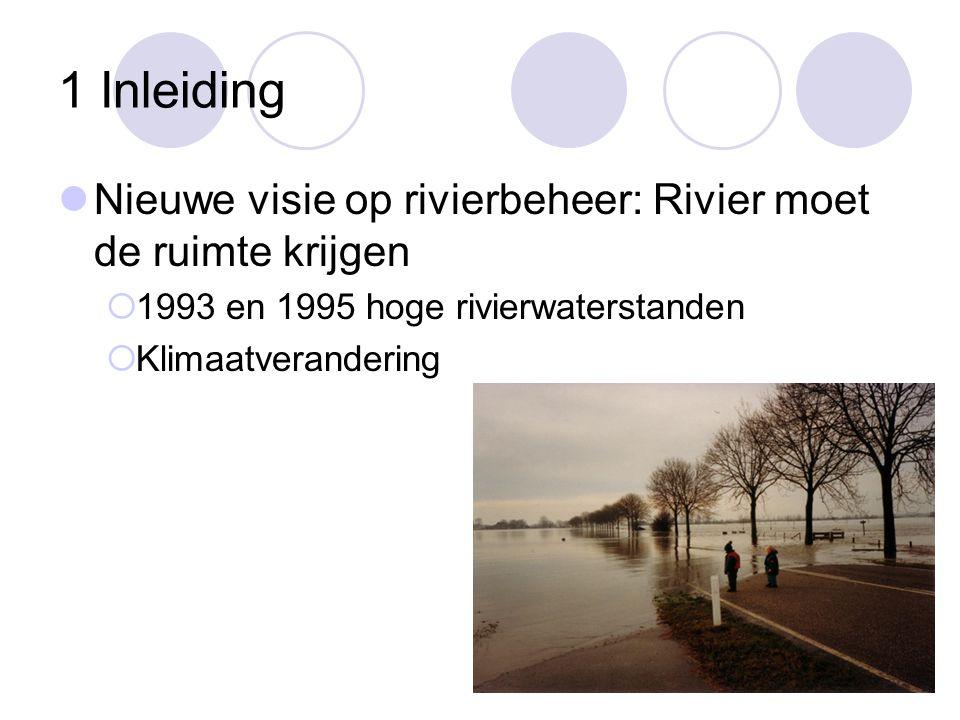 1 Inleiding Nieuwe visie op rivierbeheer: Rivier moet de ruimte krijgen. 1993 en 1995 hoge rivierwaterstanden.