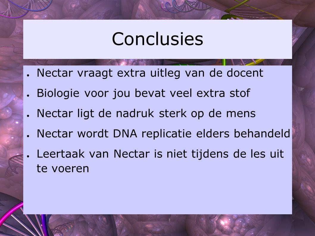 Conclusies Nectar vraagt extra uitleg van de docent