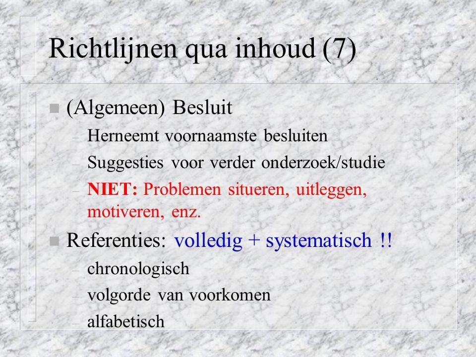 Richtlijnen qua inhoud (7)