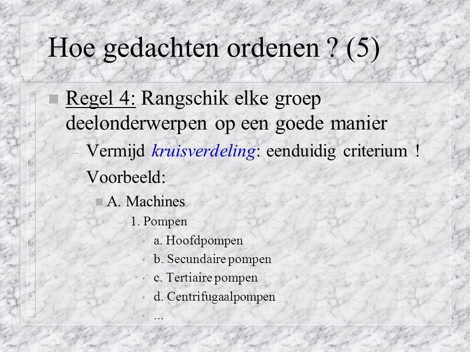 Hoe gedachten ordenen (5)