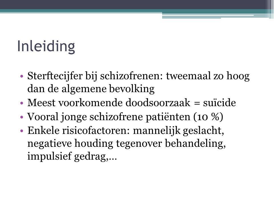 Inleiding Sterftecijfer bij schizofrenen: tweemaal zo hoog dan de algemene bevolking. Meest voorkomende doodsoorzaak = suïcide.