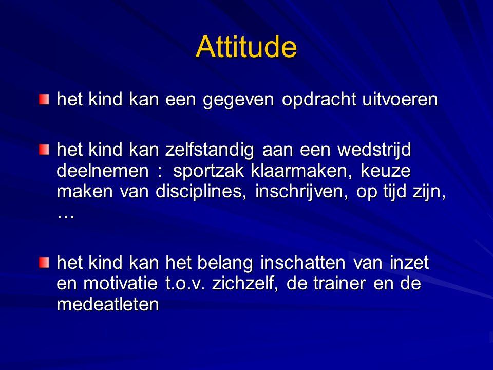 Attitude het kind kan een gegeven opdracht uitvoeren