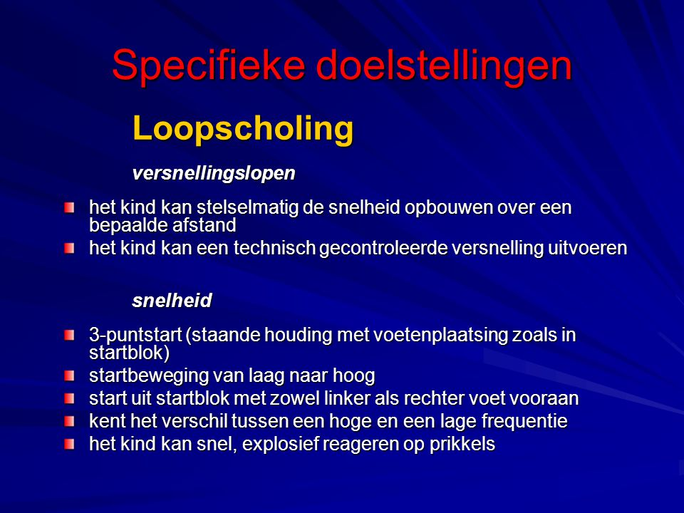 Specifieke doelstellingen