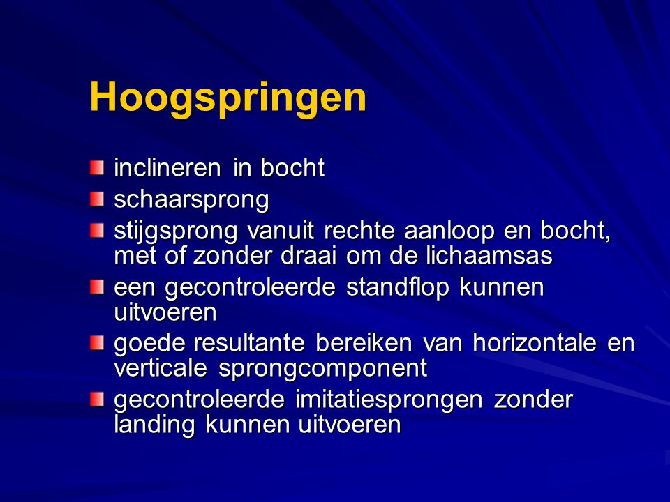 Hoogspringen inclineren in bocht schaarsprong