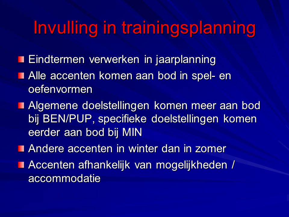 Invulling in trainingsplanning