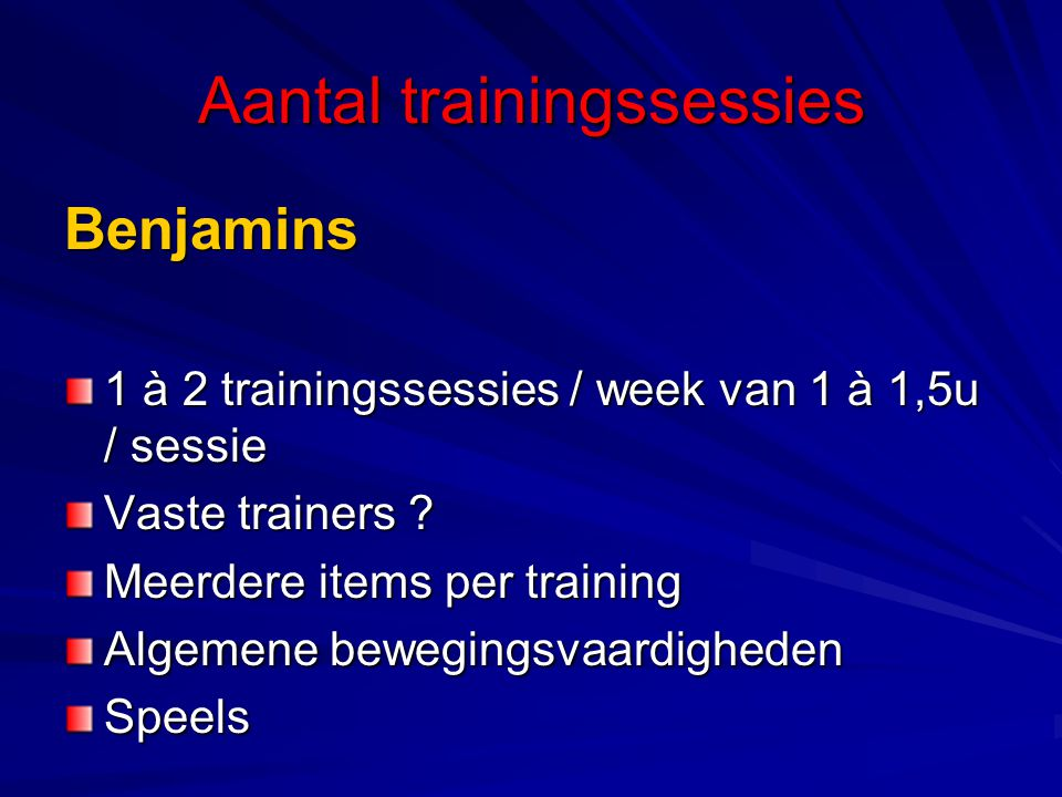 Aantal trainingssessies