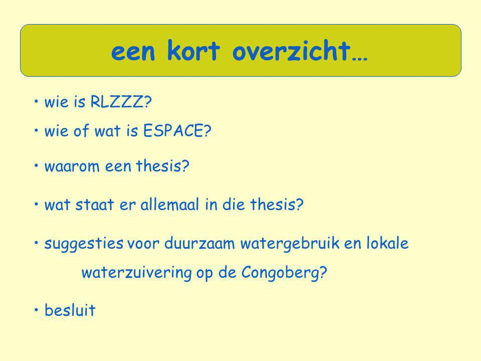 een kort overzicht… • wie is RLZZZ • wie of wat is ESPACE
