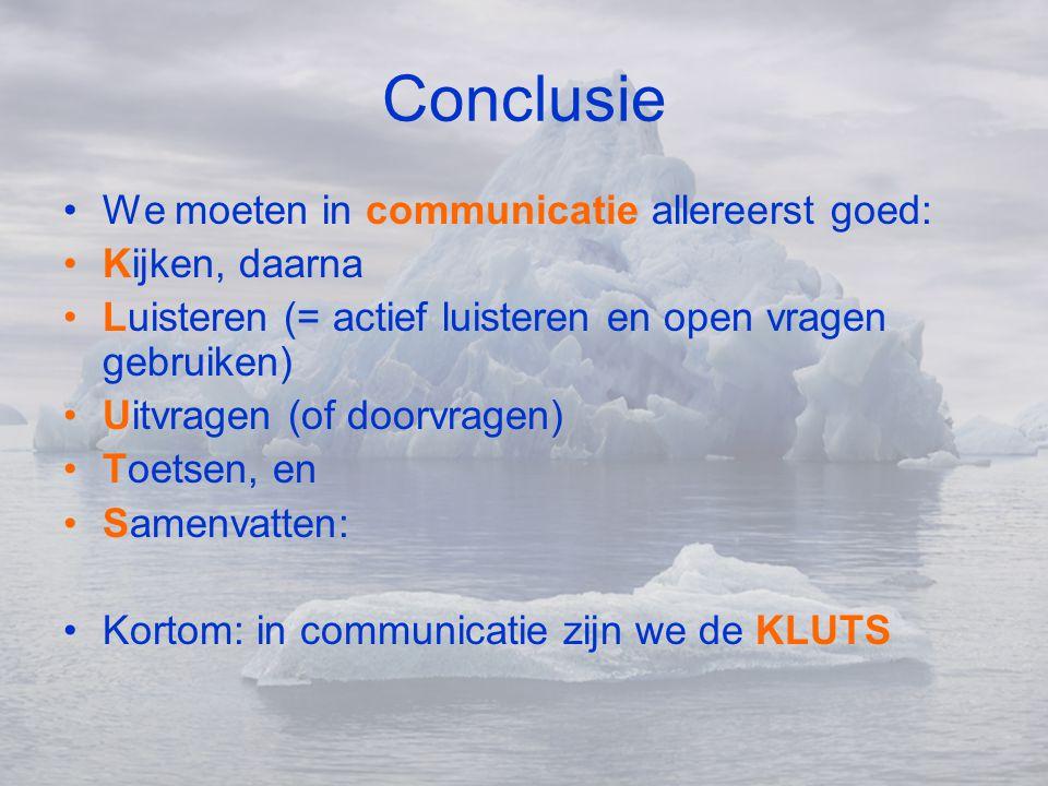 Conclusie We moeten in communicatie allereerst goed: Kijken, daarna