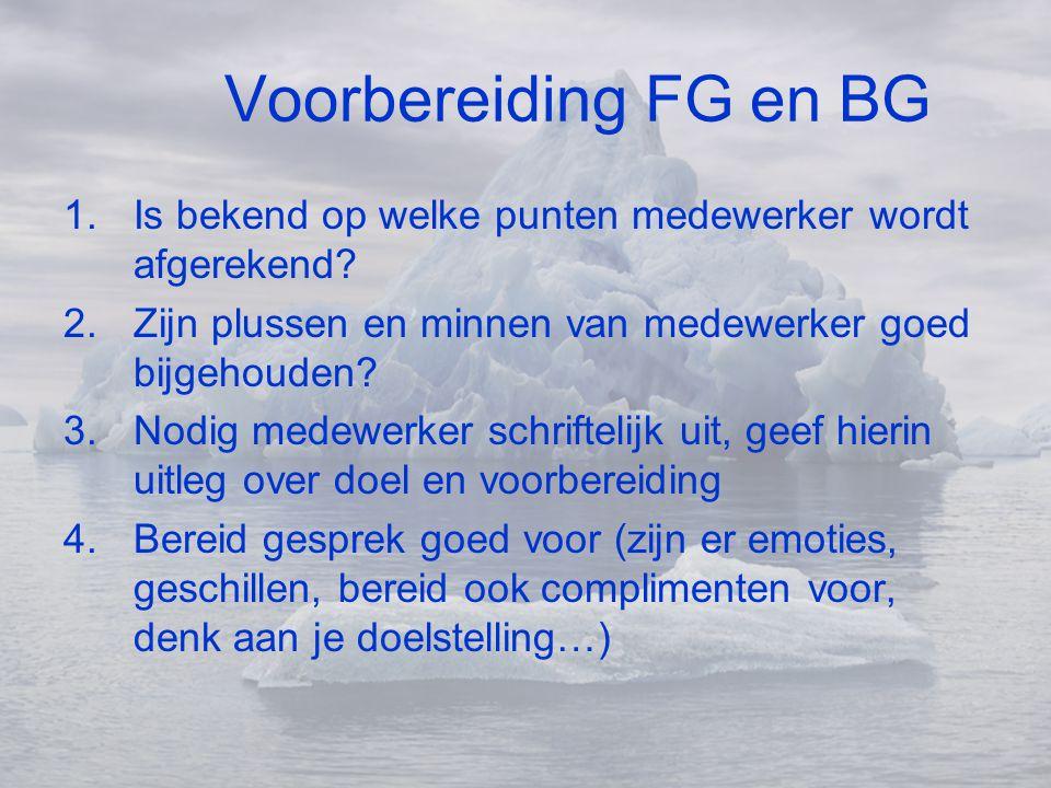 Voorbereiding FG en BG Is bekend op welke punten medewerker wordt afgerekend Zijn plussen en minnen van medewerker goed bijgehouden