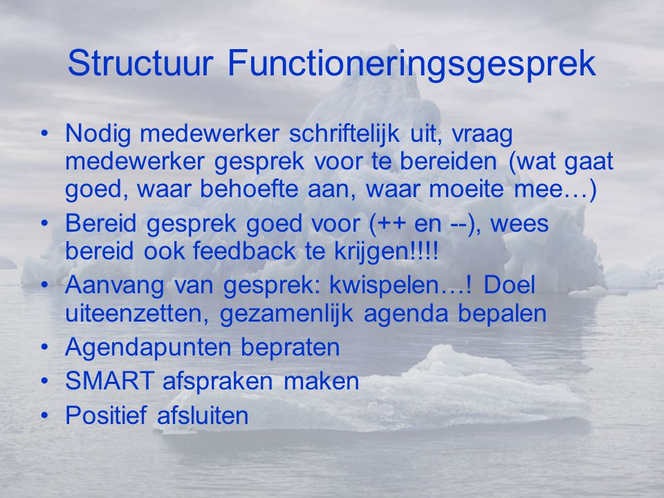 Structuur Functioneringsgesprek