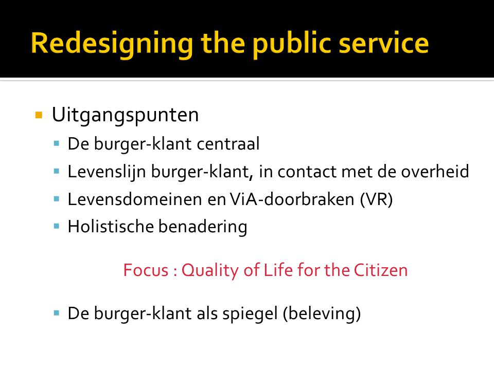 Redesigning the public service