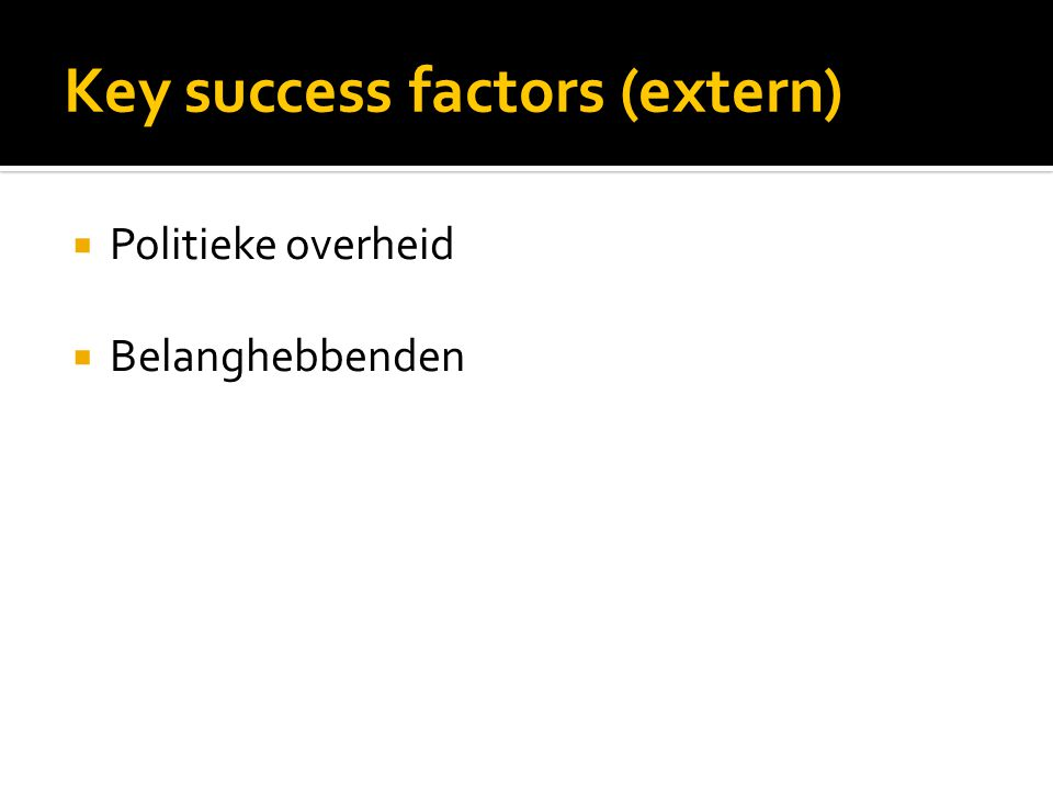 Key success factors (extern)