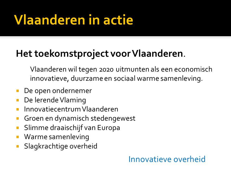 Vlaanderen in actie Het toekomstproject voor Vlaanderen.