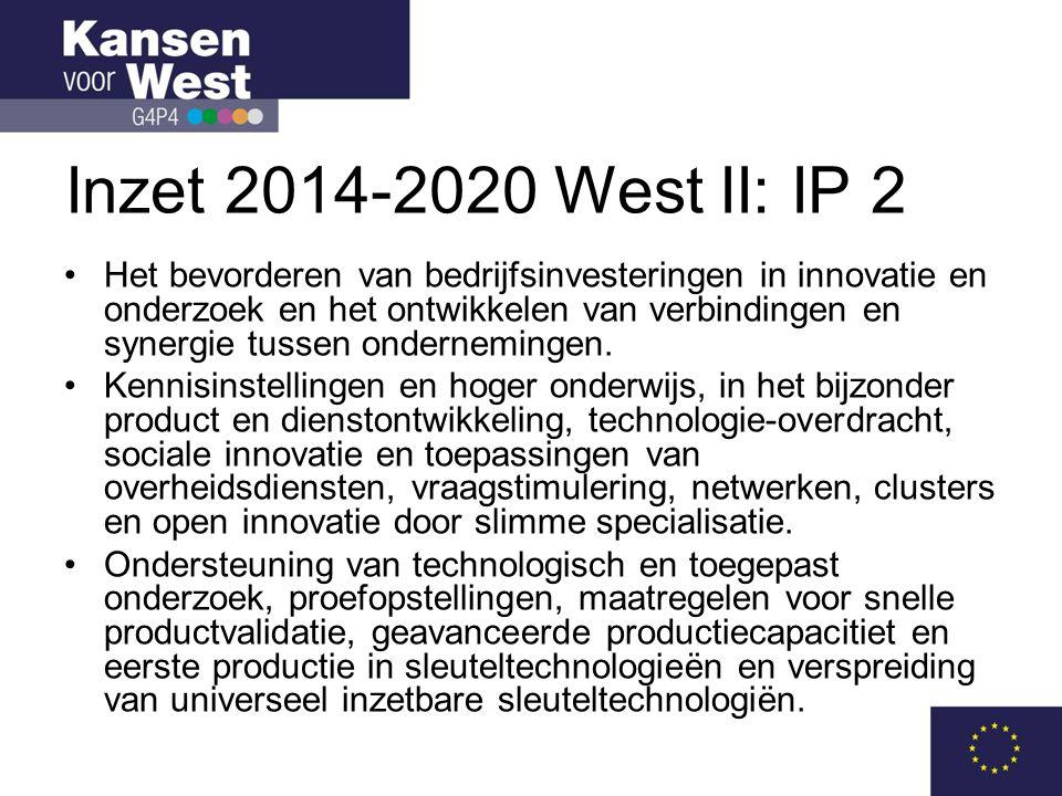 Inzet 2014-2020 West II: IP 2