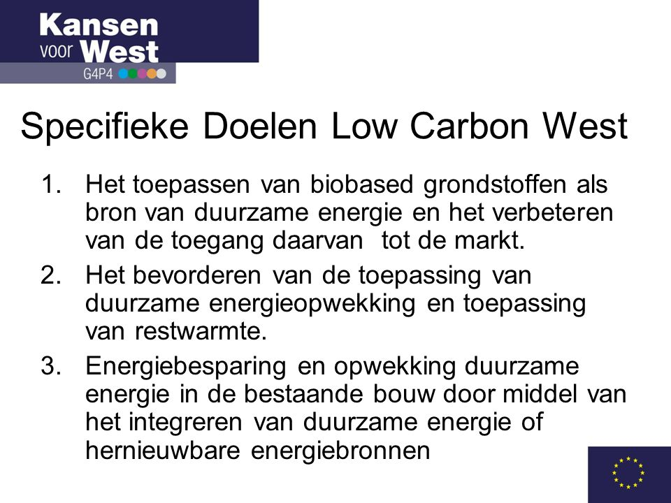 Specifieke Doelen Low Carbon West