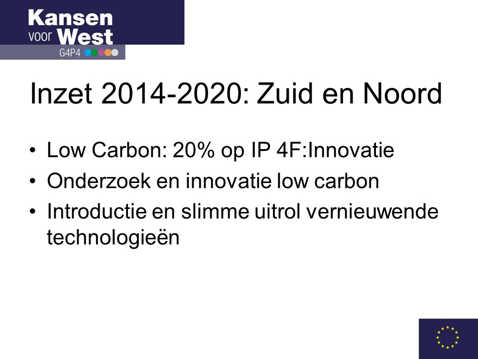Inzet 2014-2020: Zuid en Noord Low Carbon: 20% op IP 4F:Innovatie