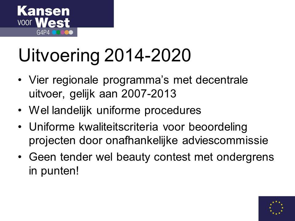 Uitvoering 2014-2020 Vier regionale programma's met decentrale uitvoer, gelijk aan 2007-2013. Wel landelijk uniforme procedures.
