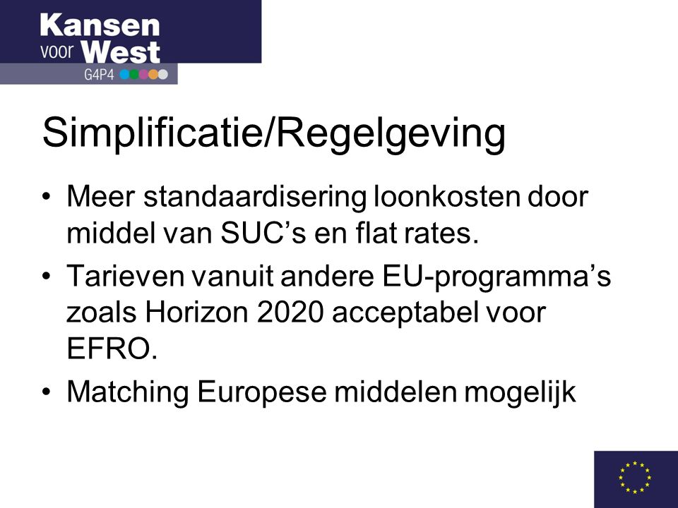Simplificatie/Regelgeving