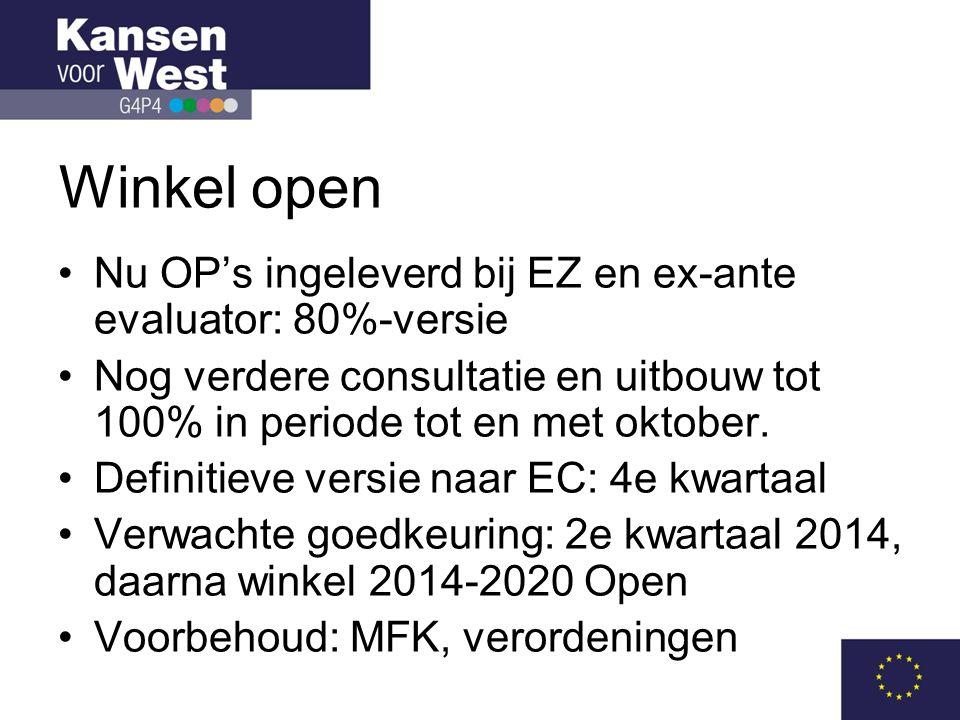 Winkel open Nu OP's ingeleverd bij EZ en ex-ante evaluator: 80%-versie
