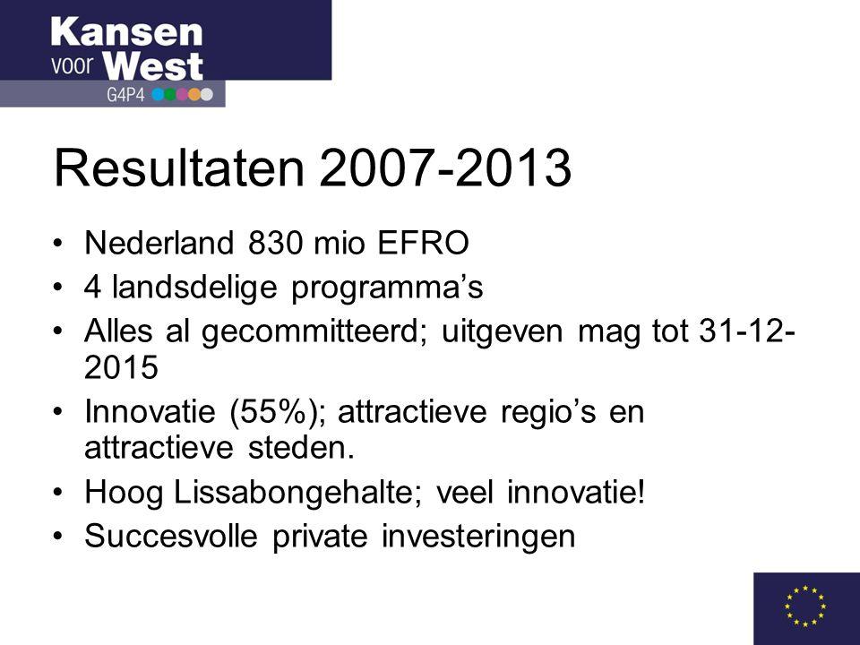 Resultaten 2007-2013 Nederland 830 mio EFRO 4 landsdelige programma's
