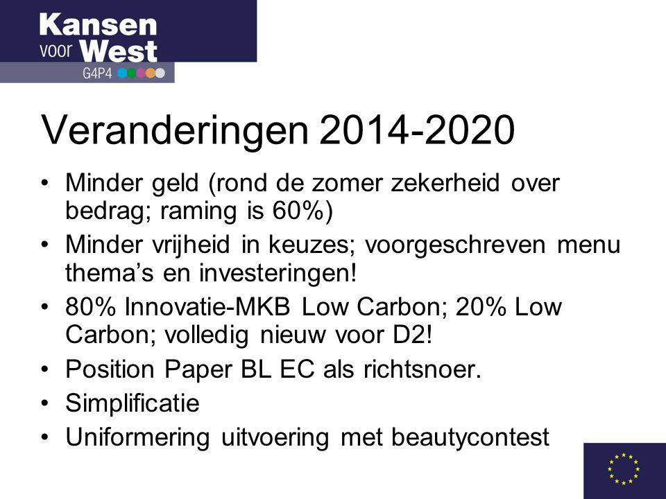Veranderingen 2014-2020 Minder geld (rond de zomer zekerheid over bedrag; raming is 60%)