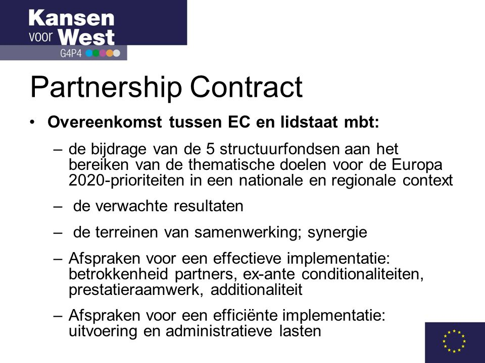 Partnership Contract Overeenkomst tussen EC en lidstaat mbt: