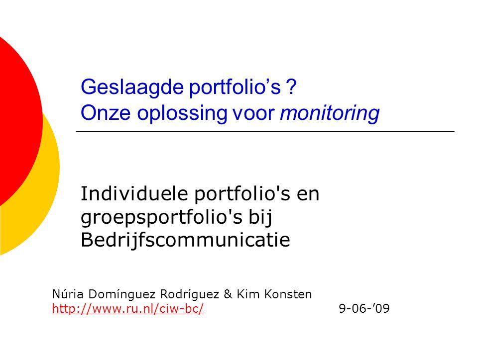 Geslaagde portfolio's Onze oplossing voor monitoring