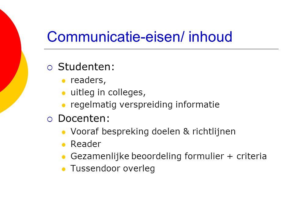 Communicatie-eisen/ inhoud