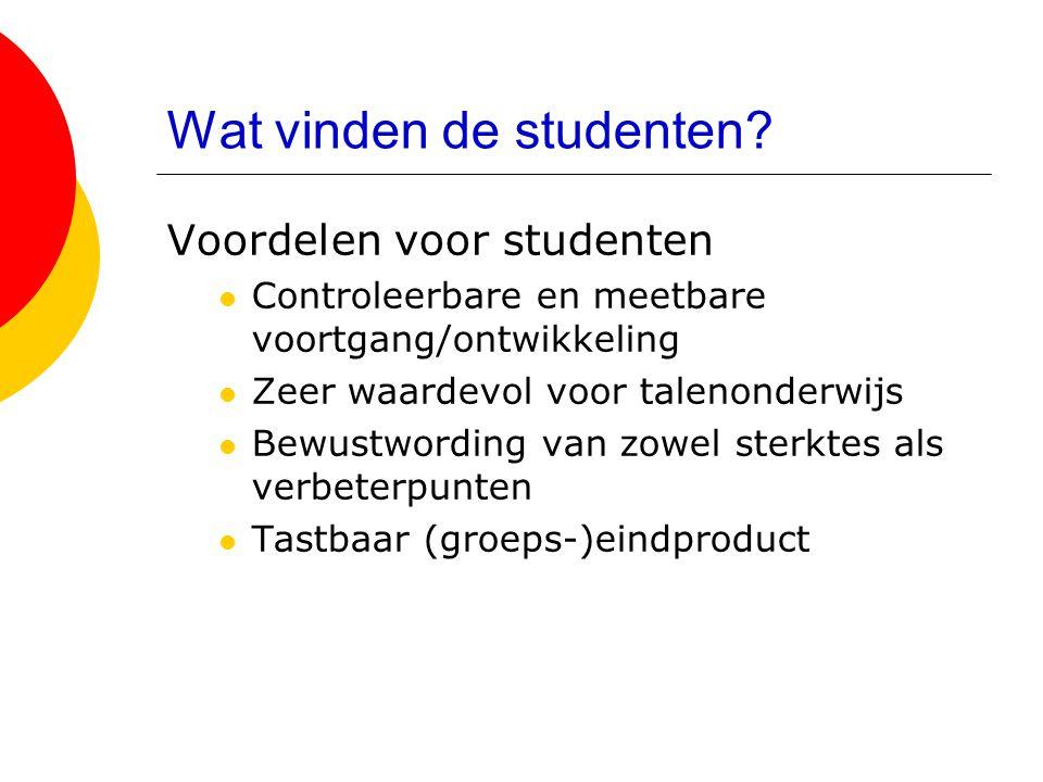 Wat vinden de studenten