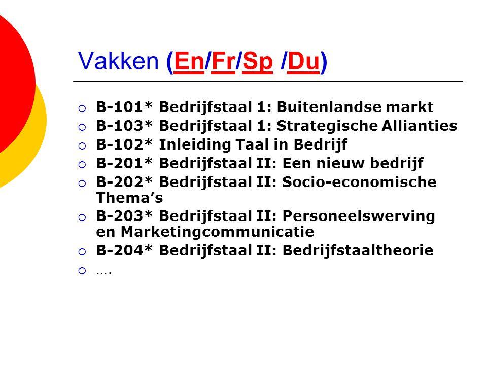 Vakken (En/Fr/Sp /Du) B-101* Bedrijfstaal 1: Buitenlandse markt