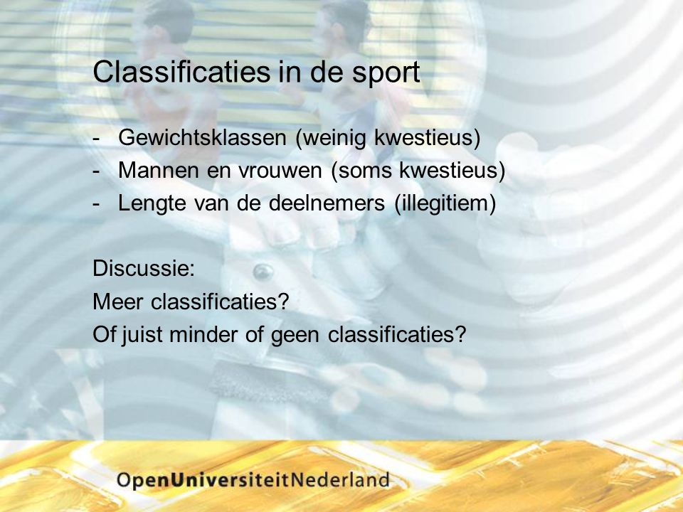 Classificaties in de sport